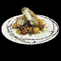 Курица со сливочно творожным сыром и овощами.