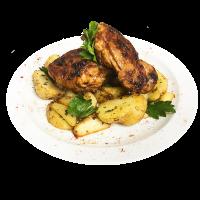 Куриное бедро с картофелем айдахо.